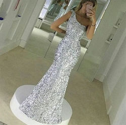 One Shoulder Elegant Simple Floor Length Mermaid Sequin Evening Dress