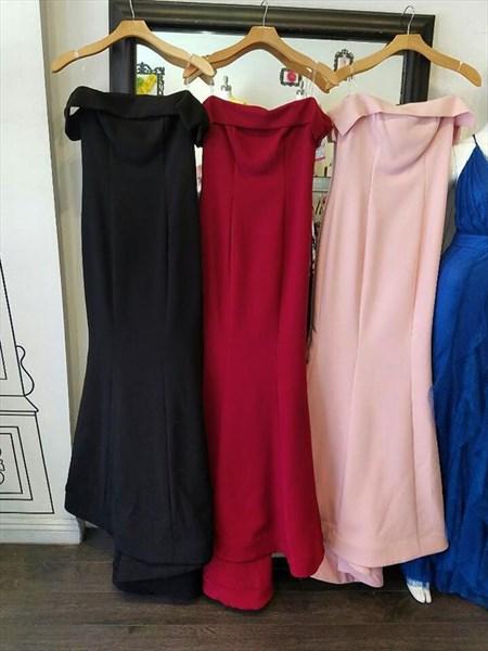 Pink Simple Off The Shoulder Elegant Floor Length Mermaid Evening Gown