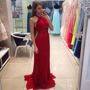 Sleeveless Beaded Halter Backless Floor Length Chiffon Evening Dress