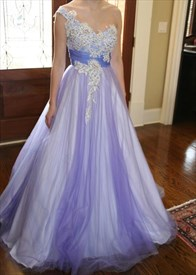One Shoulder Applique Beaded Embellished Floor Length A-Line Ball Gown