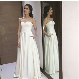White Simple Strapless Sweetheart A-Line Evening Dress With Open Back