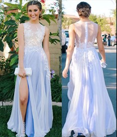 Illusion Sleeveless Lace Applique Chiffon A-Line Prom Dress With Slit