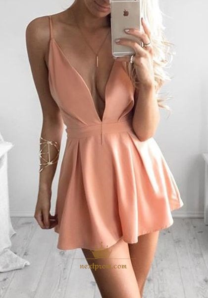 Simple Short Peach Spaghetti Strap Deep V-Neck A-Line Homecoming Dress