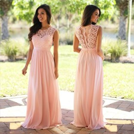 Elegant Sleeveless Floor Length A-Line Chiffon Dress With Lace Bodice