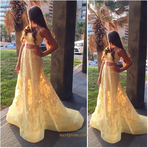 Two Piece Sleeveless Floor Length Lace Embellished A-Line Prom Dress