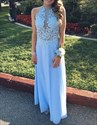 Light Blue Halter Illusion Applqiue Bodice Backless Chiffon Long Dress