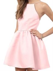 Simple Cute Pink Short Sleeveless Open Back A-Line Homecoming Dress