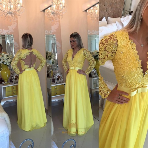 Long Sleeve A-Line V-Neck Lace Beaded Bodice Chiffon Long Prom Dress