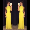 Yellow Sleeveless Halter Floor Length Chiffon Prom Dress With Lace Top