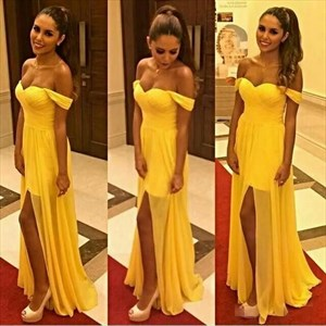 Yellow Off The Shoulder Sweetheart Chiffon Long Evening Gown With Slit