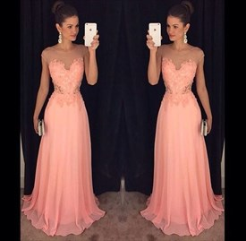 Sheer Neckline Cap Sleeve Lace Bodice A-Line Chiffon Long Prom Dress