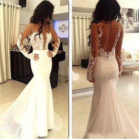 White Illusion Long Sleeve Applique Floor Length Mermaid Prom Dress