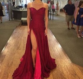 Burgundy Beaded Off The Shoulder Sweetheart Chiffon Dress With Slit