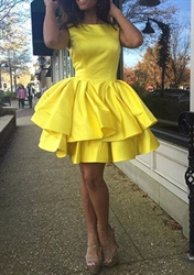 Cute Yellow Sleeveless A-Line Knee Length Satin Cocktail Party Dress