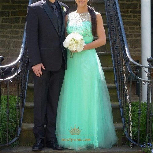 Mint Green Sleeveless A-Line Floor Length Tulle Dress With Beaded Top