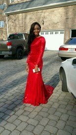 Red Long Sleeve Sequin Floor Length Mermaid Prom Dress With Open Back
