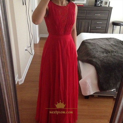 Red Sleeveless Lace Bodice Chiffon Skirt Floor Length Bridesmaid Dress