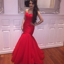 Red Strapless Sweetheart Floor Length Drop Waist Mermaid Evening Dress