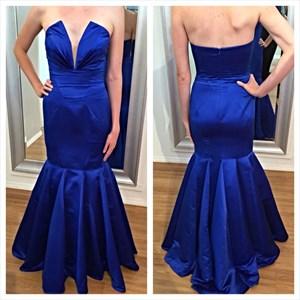 Royal Blue Strapless Floor Length Drop Waist Sheath Mermaid Prom Dress