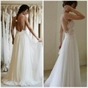 Elegant Sleeveless Backless Lace Bodice A-Line Chiffon Wedding Dress