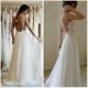 Elegant Sleeveless Backless Lace Bodice A-Line Chiffon Wedding Dress
