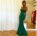 Embellished Strapless Emerald Green Floor Length Mermaid Prom Dress