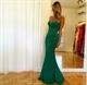 Embellished Strapless Emerald Green Floor Length Mermaid Prom Dress