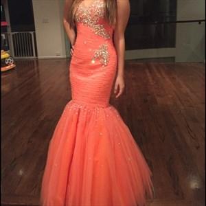 Floor Length Bead Embellished Strapless Tulle Mermaid Evening Dress