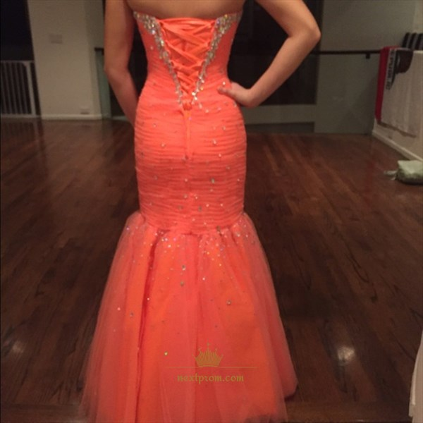 Floor Length Bead Embellished Strapless Tulle Mermaid Evening Dress
