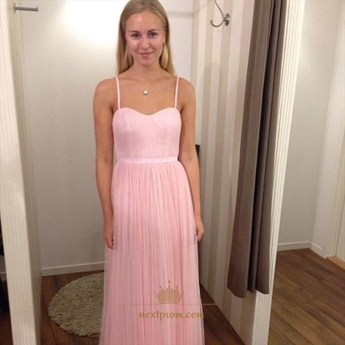 Baby Pink Spaghetti Strap Floor Length A-Line Chiffon Bridesmaid Dress