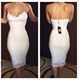 Tea Length Spaghetti Strap Open Back White Lace Sheath Cocktail Dress