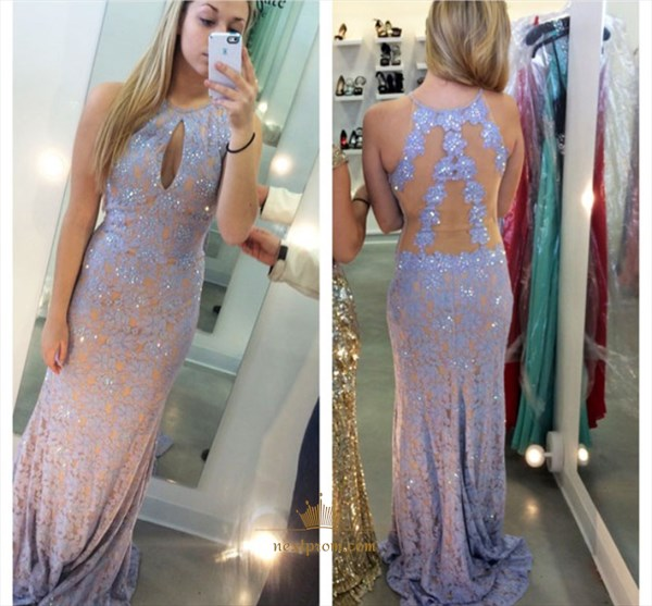 Floor Length Sleeveless Mermaid Lace Evening Dress With Keyhole Front
