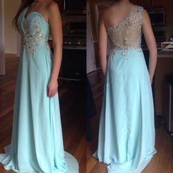 One Shoulder A-Line Chiffon Floor Length Prom Dress With Embellishment