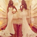 Elegant Strapless Floor Length Ruched Mermaid White Lace Evening Gown