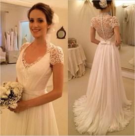 Short Sleeve Elegant A-Line Pleated Chiffon Wedding Dress With Lace