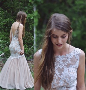 Sleeveless Drop Waist Backless Mermaid Evening Dress With Lace Bodice