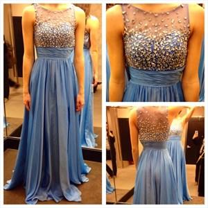 Sleeveless Illusion Neckline A-Line Ruched Chiffon Long Evening Dress