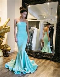 Turquoise Simple Elegant Strapless Mermaid Floor Length Evening Dress