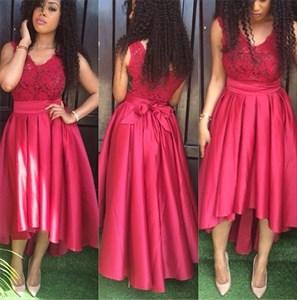 Sleeveless A-Line V-Neck Lace Bodice Tea Length Satin High Low Dress