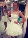 Illusion Neckline Knee Length A-Line Wedding Dresses With Ruched Waist