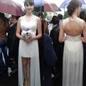 Sleeveless Short White Chiffon Overlay Wedding Dress With Keyhole Back