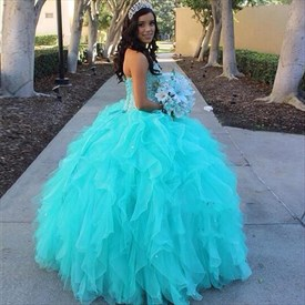 Turquoise Strapless Beaded Bodice Floor Length Ruffle Wedding Dress