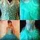 Turquoise Strapless Beaded Bodice Floor Length Ruffle Wedding Dress