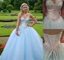 Elegant Strapless Sweetheart Sequin Bodice Embellished Tulle Ball Gown