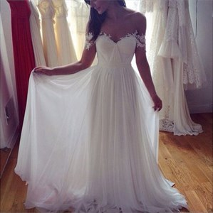 Applique Off Shoulder White Floor Length A-Line Chiffon Wedding Dress