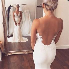 Sleeveless White Floor Length Mermaid Wedding Dress With Sheer Back