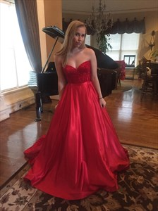 Red Strapless Sweetheart Lace Bodice A-Line Floor Length Prom Dress
