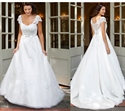 Scoop Neckline Cap Sleeve A-Line White Lace Embellished Wedding Dress