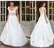 Scoop Neckline Cap Sleeve A-Line White Lace Embellished Wedding Dress