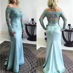 Illusion Long Sleeve Off Shoulder Mermaid Lace Embellished Prom Dress
